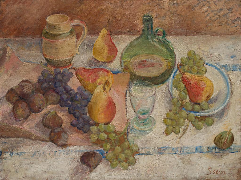 Frutta con brocca e bottiglia